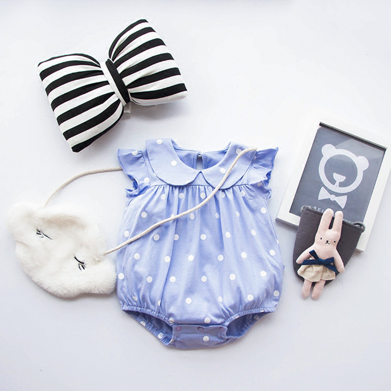 Baby Girl Romper Pure Cotton Baby Girls Dress Polka Dots Baby Jumpsuits 2018 Summer Roupas Bebes Newborn Baby Girls Rompers baby girl casual dress summer pure cotton 100