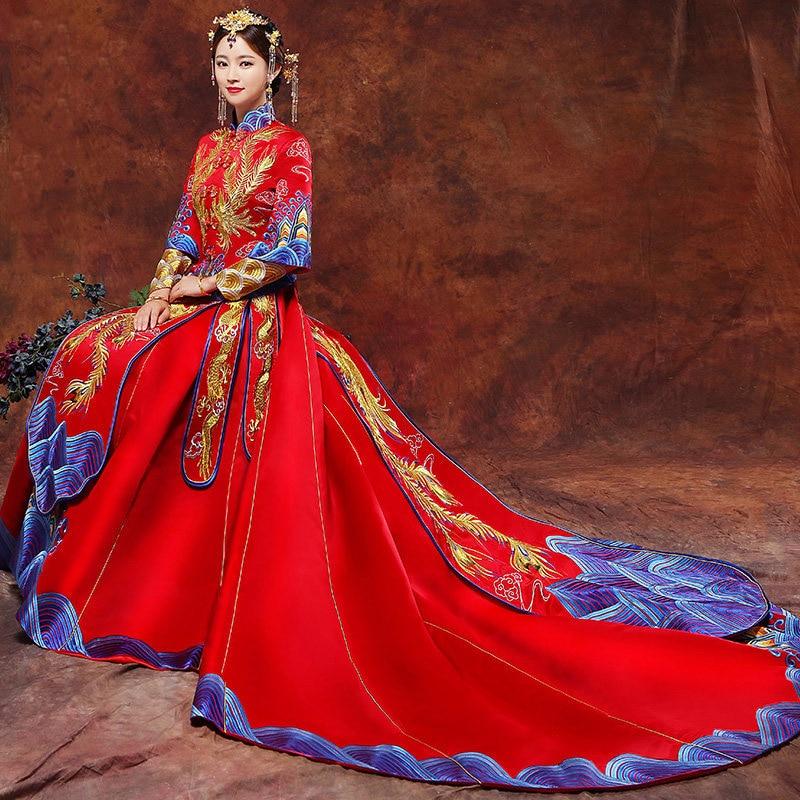 Vintage Blue Cheongsam Modern Chinese Traditional Wedding Dress Women Vestido Oriental Collars Elegent Long Qi Pao Size S-XXL 4
