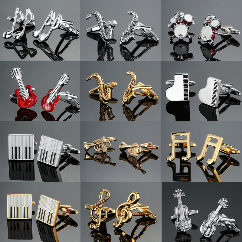 DY  New High Quality Brass Musical Instruments Sax Trumpet Drum Piano Violin Music Symbol French Shirt Cufflinks Free Shipping