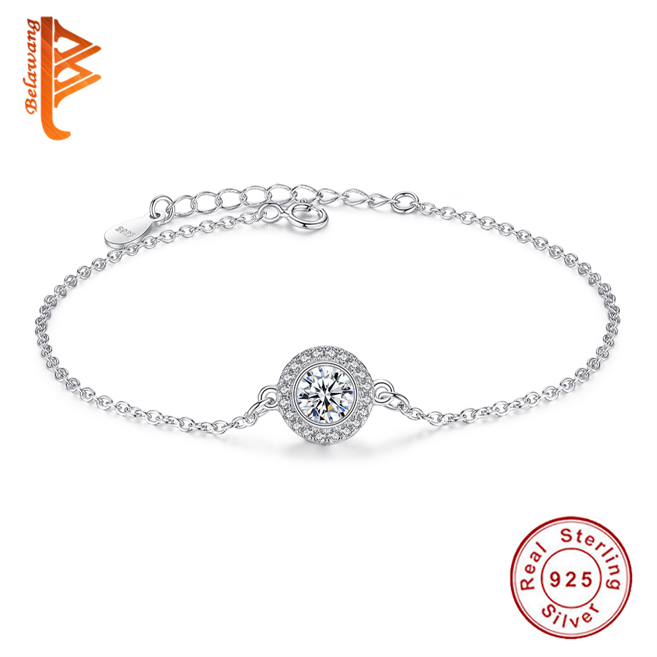 Luxury 925 Sterling Silver Cubic Zirconia Crystal Round Charm Bracelet for Women Jewelry Link Chain Bracelet Wedding Gift authentic new brand women infinity bracelet 925 sterling silver cz crystal charm bracelet for women wedding jewelry gift ys1001