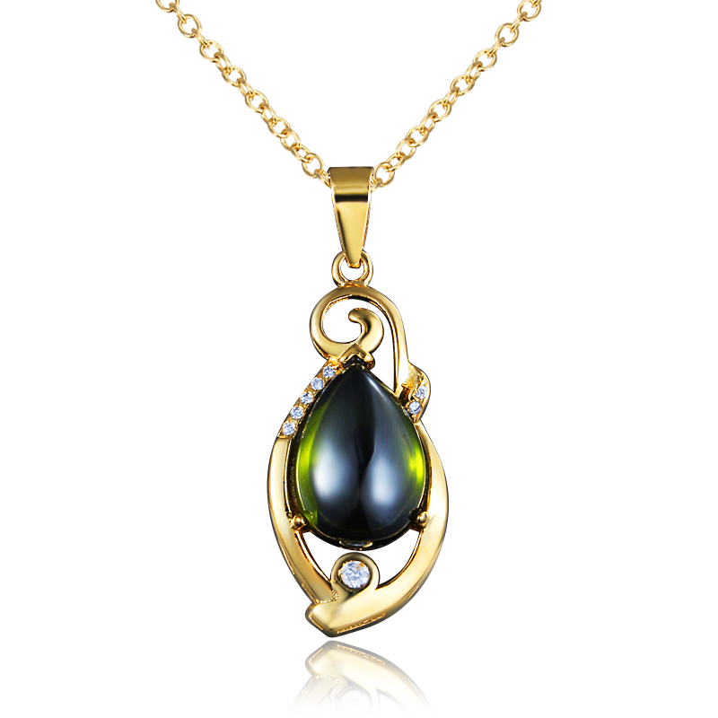 Elegant Created Emerald Gold Pated Green Colorful Crystal Pendant Necklace CZ For Women Wedding Party Top Quality