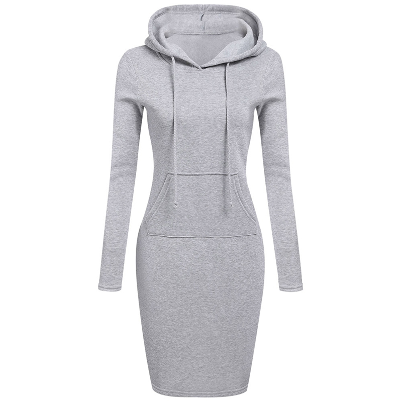 2018 Fashion Women Winter Dress Long Sleeve Pocket Lace-up Hooded Pullover Sweatshirt Hoodies Warm Long Sweatshirt Top Outwear