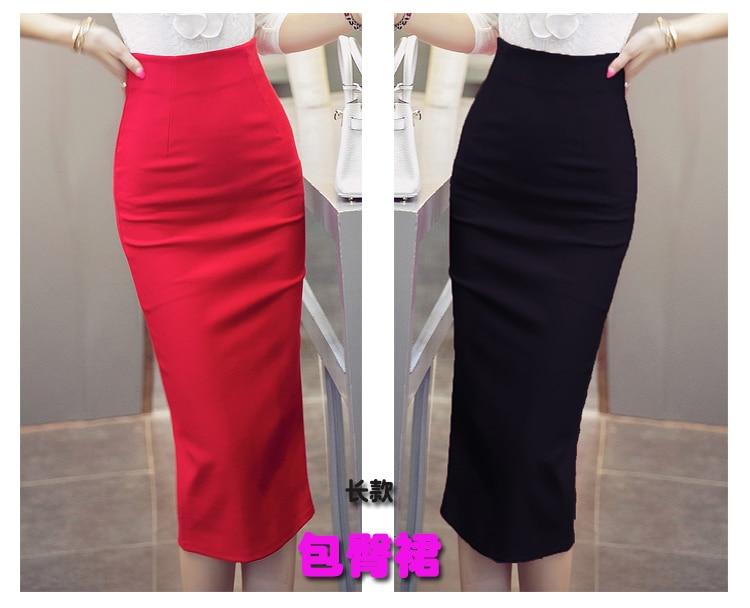 2099094f4e2fa Elegant OL Skirt Female Slim Women High Waist Skirt Vintage Autumn Winter  Skirts Black Red Ladies Pencil Skirt Plus Size S 5XL-in Skirts from Women s  ...