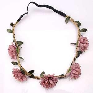 M MISM Girls Fashion Flower Wreath Garland Vine Chrysanthemum Elastic Rubber Hair Bands Bohemia Crown Headwear Hair Accessories(China)