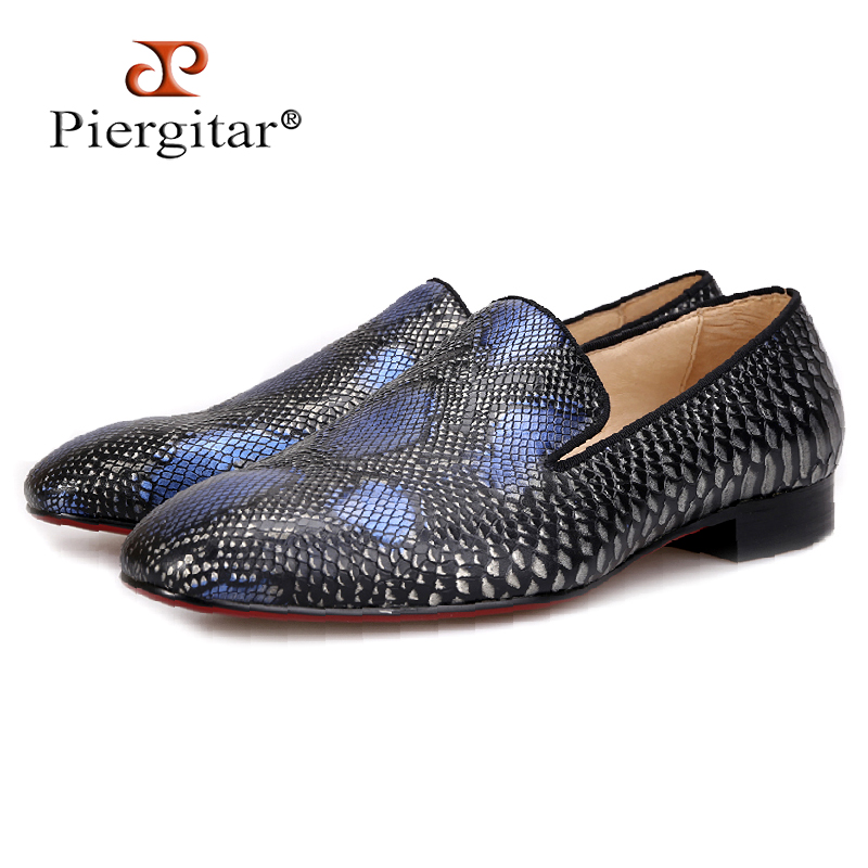 new arrival Handmade men Genuine Leather shoes with Serpentine printing designs Party and Wedding men loafers