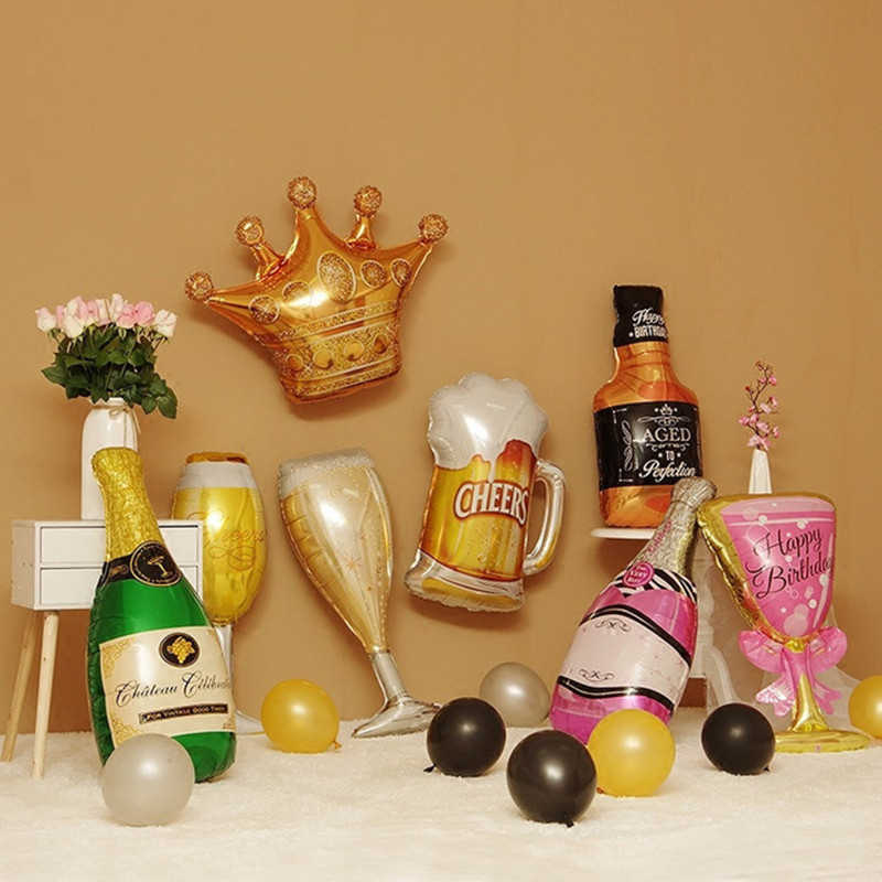 Champagne wine cup Whiskey Bottle Balloon 30 years old Happy Birthday Party Engagement Decor Aged To Perfection gold king crown