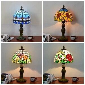 Image 2 - Mediterrane Decor Turkse Mozaïek Lampen E27 Gebrandschilderd Glas Lampenkap Slaapkamer Nachtkastje Vintage Tafellamp Verlichtingsarmaturen