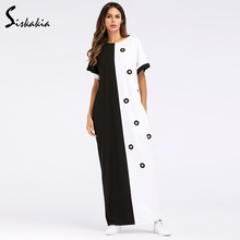 Siskakia ladies maxi dresses Summer 2018 loose plus size Straight T shirt dress Applique Diamond color block long dress 3XL 4XL color block long sleeve applique shirt