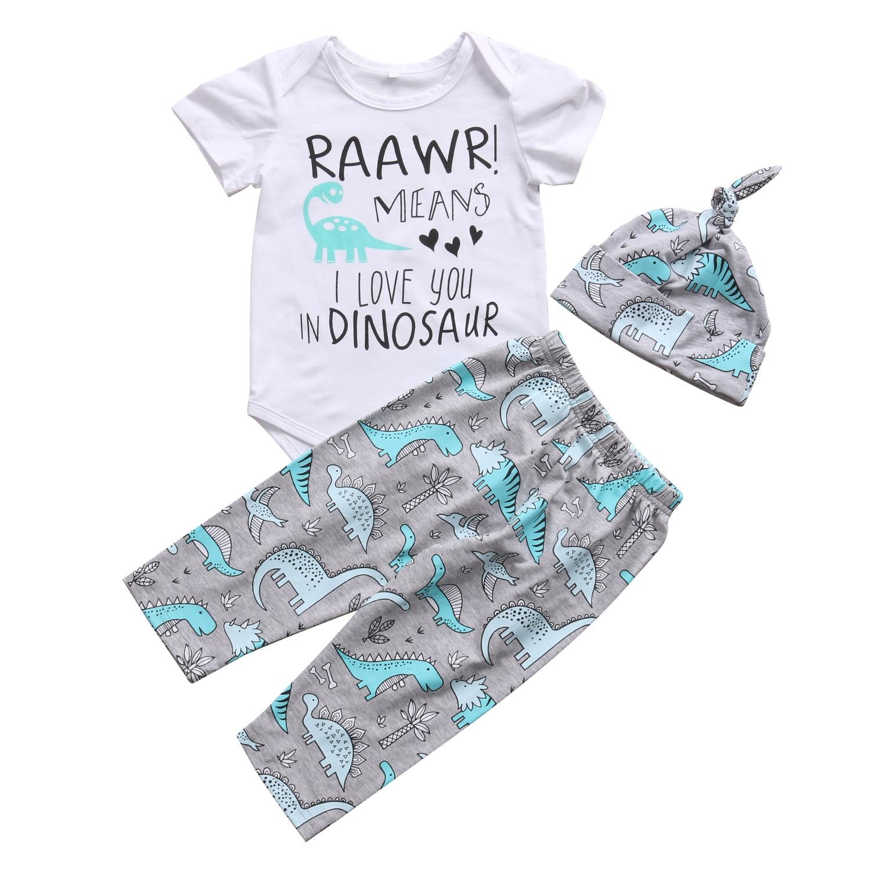 3pcs Newborn Baby Boys Girls Tops Short Sleeve Letter Romper Pants Leggings Hat Outfits Clothes Set 0-18m Fine Quality