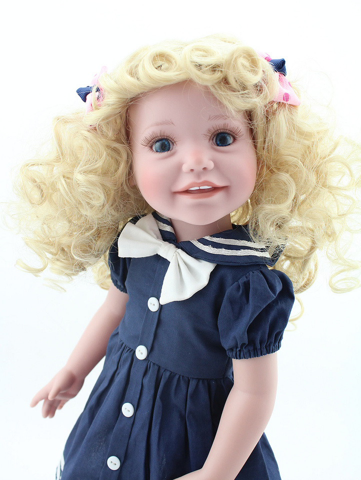 Reborn Baby Doll American Dolls Girl School Blonde Curly Hair Blue Eyes Cute Babies 18 Inch 45cm Full Vinyl Bath