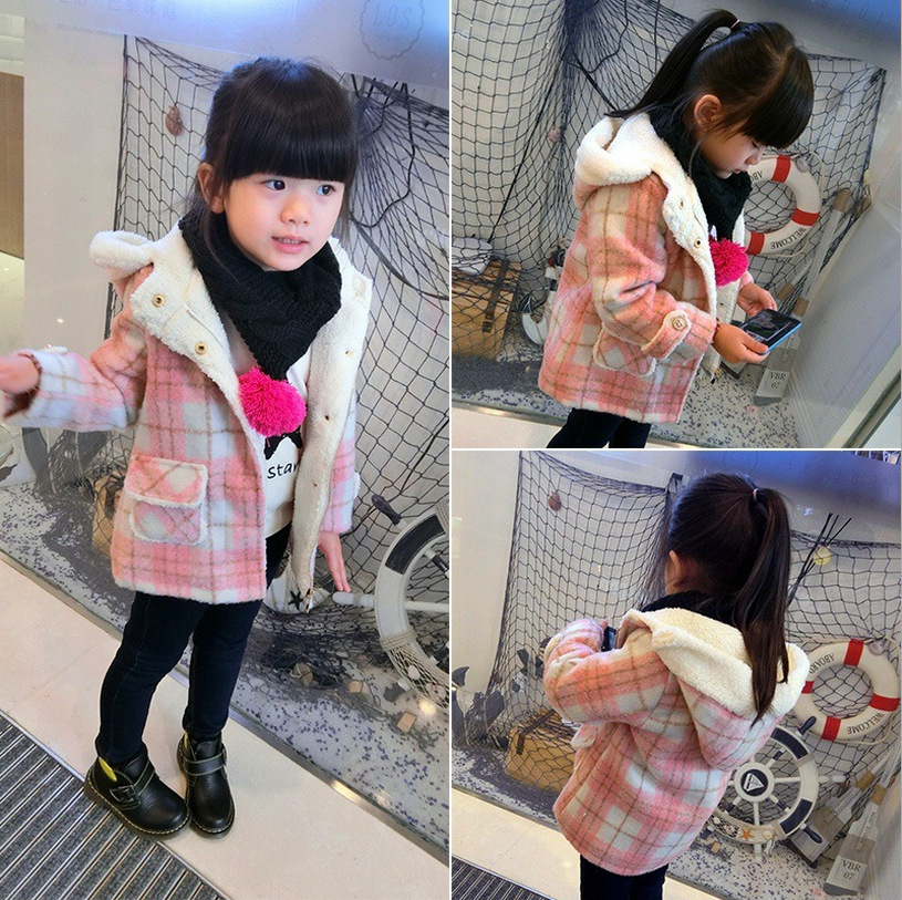 2016 winter girls hooded quilted font b tartan b font cashmere thick coat jackets girl winter