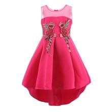 Retail Heart Collar Cute Embroidery Flower Girls Dress Taffeta Mesh Sleeveless Girls Trailing Dress For Wedding Party Dress L560