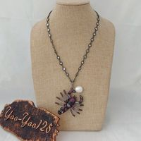 N012806 18 Cz Pave Gunmetal Chain Necklace White Pearl CZ Pave Scorpion Pendant