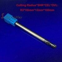6mm ballnose cnc bộ định tuyến cuối cùng nhà máy hrc55 tròn đáy cuối dao phay bóng mũi 2 sáo xoắn ốc bit r 3mm dài chiều dài 100mm