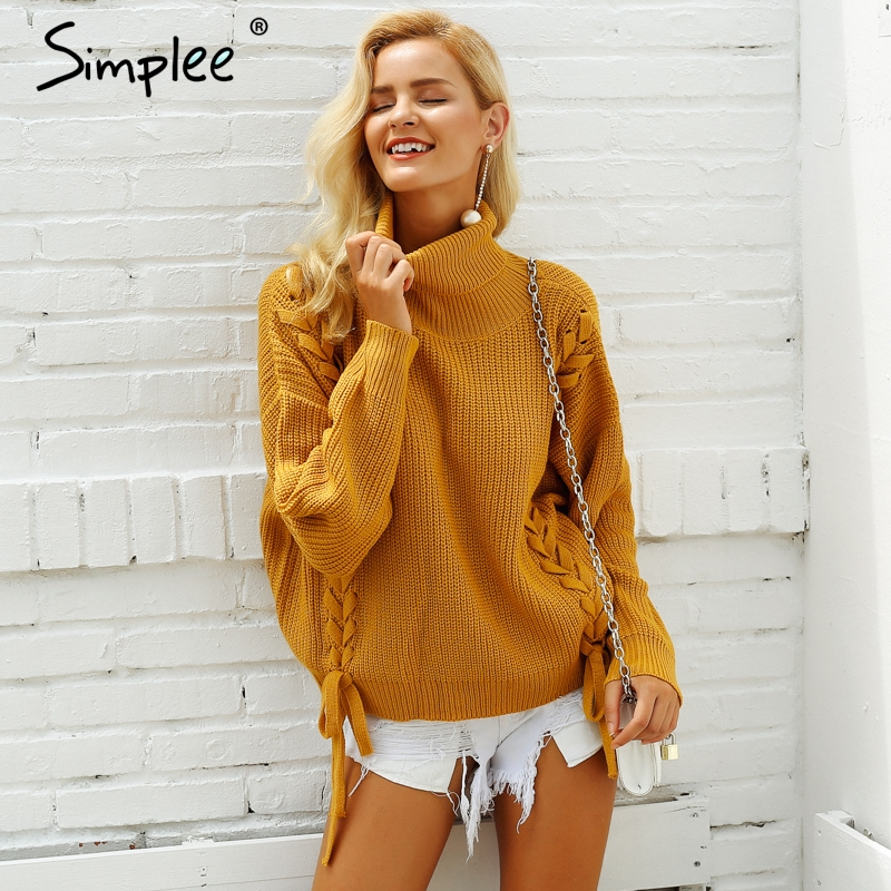 2f05beb88b Simplee Side lace up sweaters woman winter 2018 Turtleneck batwing sleeve  Loose pullover casual women jumper