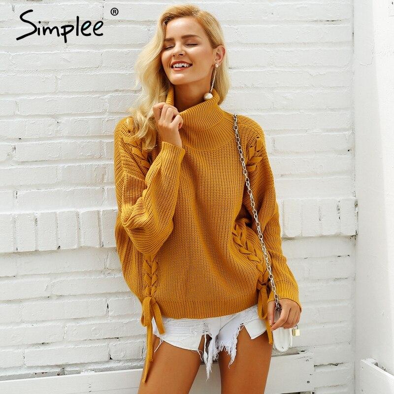 Simplee Side lace up pullover frau winter 2018 rollkragenflügel-hülsenstrickjacke Lose pullover casual frauen jumper pull femme