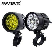 2X 12000Lm beyaz/sarı motosiklet LED far su geçirmez sürüş Spot kafa lambası sis işık Motor aksesuarları 6000K/3000K 12V