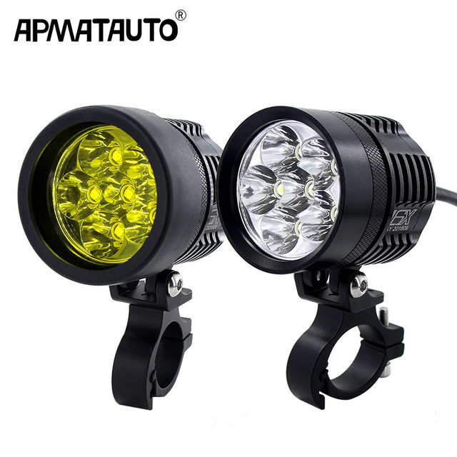2X 12000Lm white/Yellow Motorcycle LED Headlight Waterproof Driving Spot Head Lamp Fog Light Motor Accessories 6000K/3000K 12V