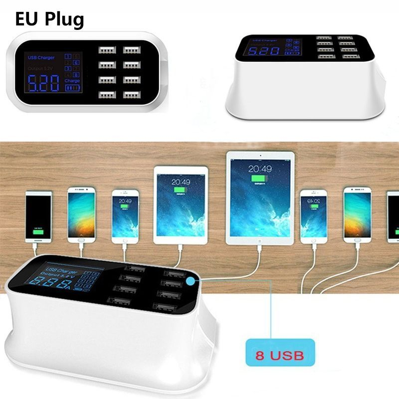 Image 2 - hot 8 Port Portable USB Hub Fast Charger Power Adapter with Smart