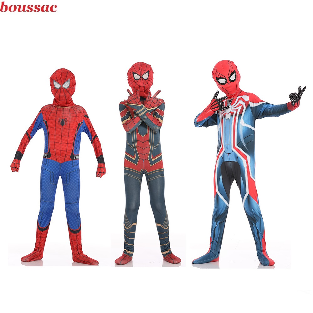 Spider-Man Kids Adult Costumes Superhero Lycra Spiderman Hero Zentai Halloween Party Cosplay Costume With Mask