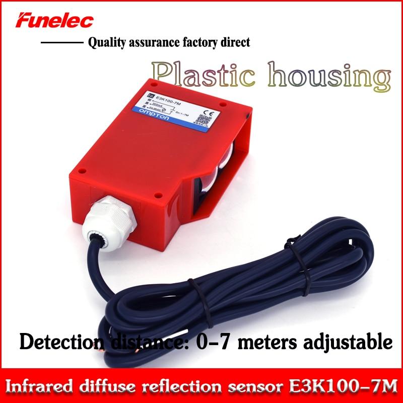 Original Authentic Long-distance Diffuse Photoelectric Switch Sensor E3K100-7M Detection Distance 0-10 Meters