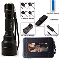 LED CREE Flashlight C8 8000 lumens XM-L2/T6 High Power Tactical Flashlight Camping Light + Charger+1*18650 Battery+Holster