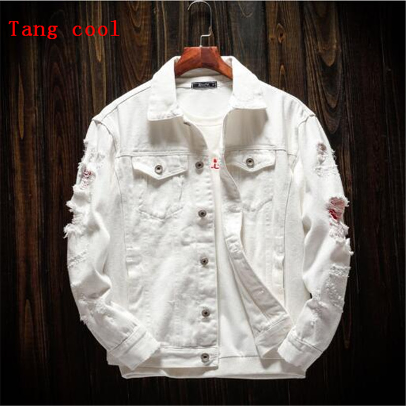 2018 spring and autumn new personality hole loose jeans jacket long sleeved white pink black and red Hole beggar jacket