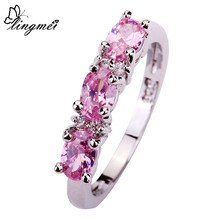 Wholesale Sweet Lady Women Gift Oval Cut Pink Sapphire & White Sapphire 925 Silver New Ring Size 7 8 9 10 Love For PROMISE chic floral faux sapphire ring for women