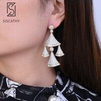 Siscathy 2019 New Design Big Drop Earrings for Women Trendy Cubic Zirconia Gold Silver Statement Earrings Fashion Jewelry