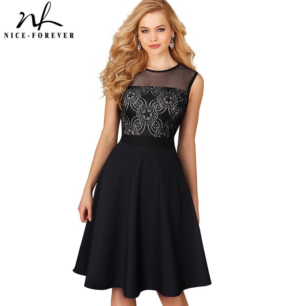 Nice-forever Vintage Elegant Floral Lace Zipper Mesh Net O-Neck vestidos Sleeveless A-Line Female Flare Party Women Dress A078