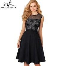 素敵な永遠のヴィンテージエレガントなフローラルレースジッパーメッシュネット O ネック vestidos ノースリーブ A ライン女性のフレアパーティー女性ドレス A078
