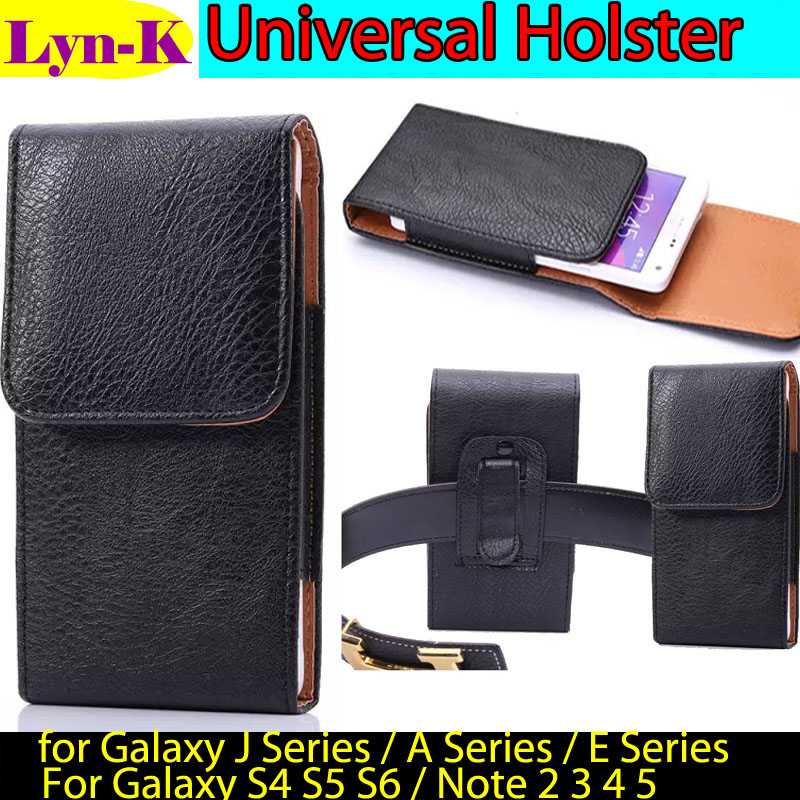 Universal Leather Holster Case sfor Samsung Galaxy A7 A5 A3 J7 J5 J3 J1 2015 2016 2017 /S4 S5 S6 7/ Note 2 3 4 5 Belt Clip Pouch