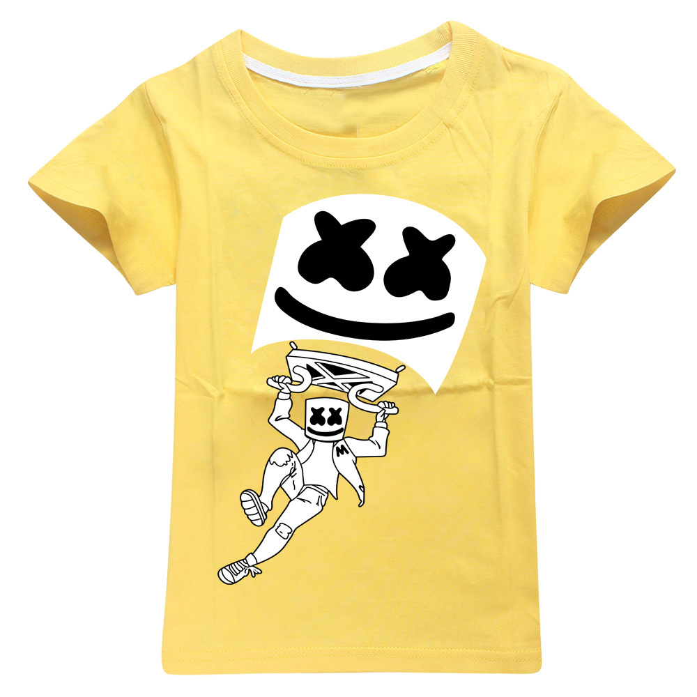 Modis dj marshmello Kids t shirts hoodie clothes Child Black New summer top Short Sleeve T-shirt for Girls Boys 100%cotton