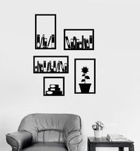 ויניל קיר מדבקות משרד מדף ספרים פנים קישוט חדר ספריית מחקר חדר שינה עיצוב הבית אמנות קיר מדבקות YD9
