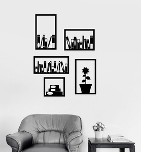Image 1 - Vinyl wall decals office bookshelf interior decoration room library study bedroom home decoration art wall stickers YD9