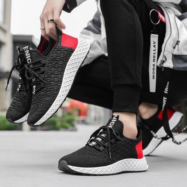 f4059c60 Oddychające mężczyźni Sneakers buty męskie dorosłych czerwony czarny szary  wysokiej jakości wygodne antypoślizgowe miękkie siatki męskie buty 2019  lato nowy