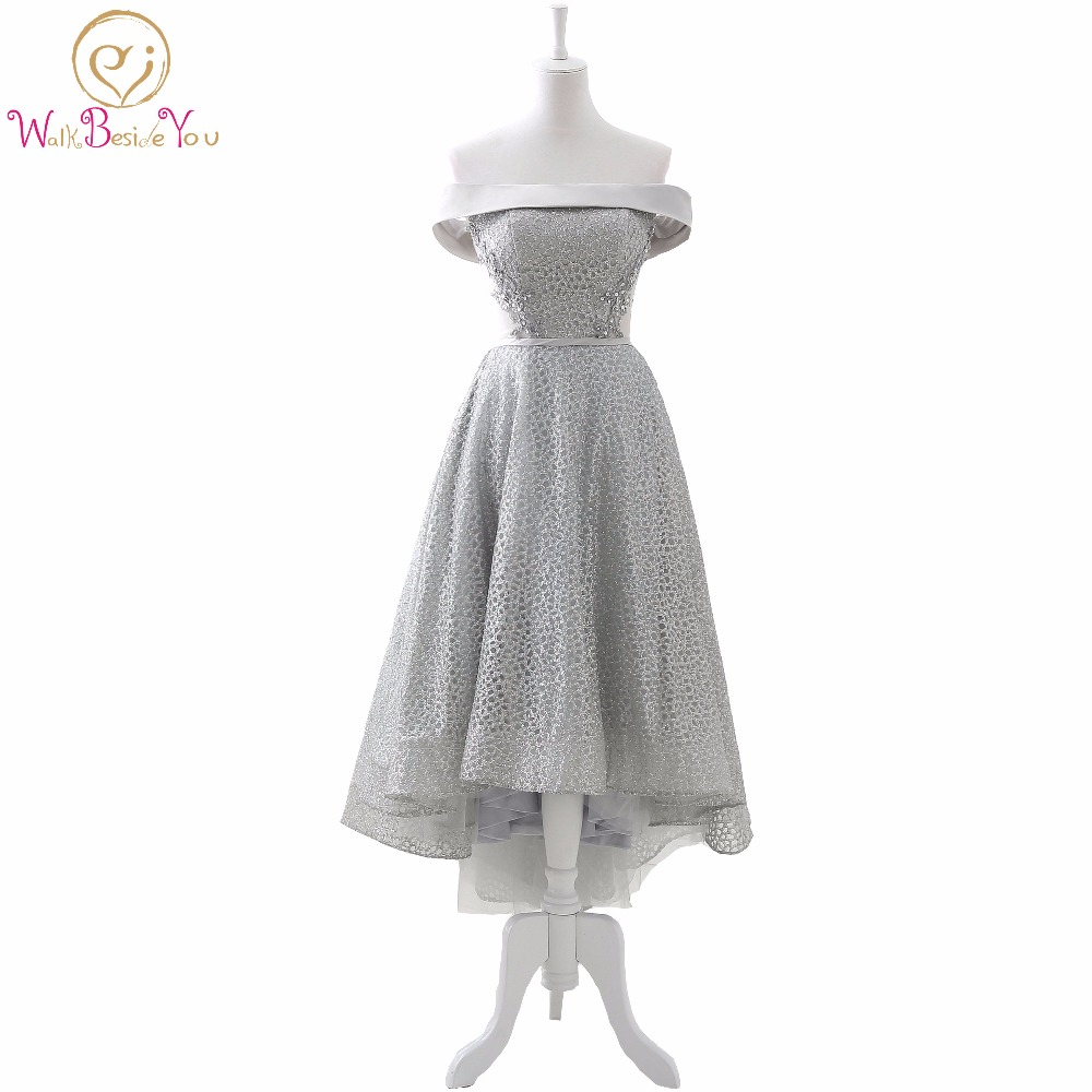 100% Real Photo Short Front Long Back Gray Formal   Dresses   Bling Sequin   Evening     Dresses   Asymmetrical Off the Shoulder Prom Gowns