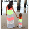 2016 verano vestidos maxi largo del vestido a juego de la familia de madre e hija ropa de playa cordón de la mirada de la familia madre e hija ropa