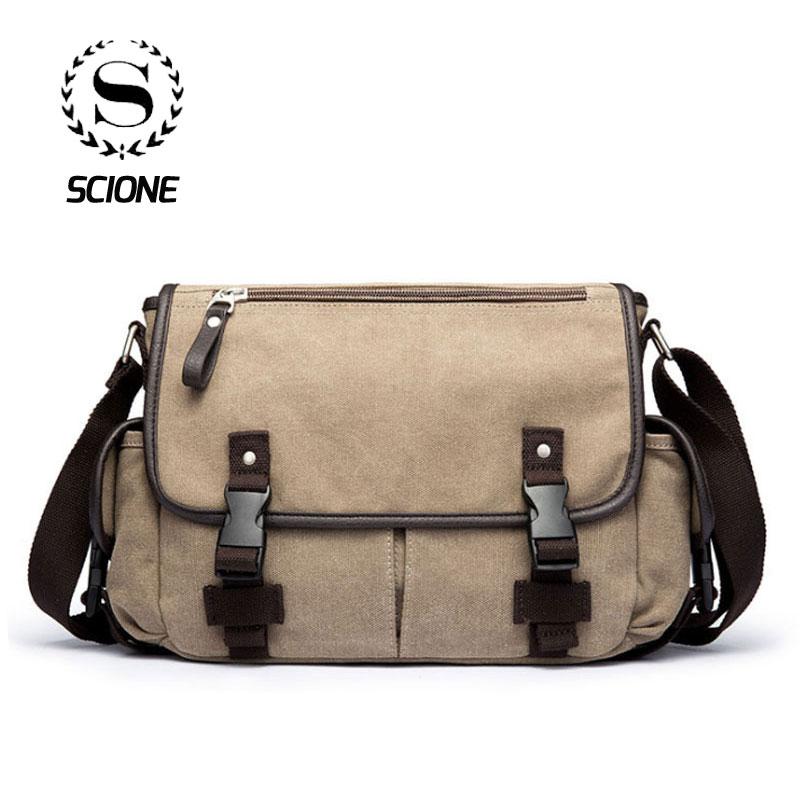 Scione Men's Satchels Shoulder Bags Vintage Canvas School Office Messenger Bag Fashion Student Preppy Notebook Crossbody Pack