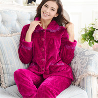 Kadınlar Için 2017 Bahar Pamuk Pijama Setleri Mercan Polar Kalınlaşmak Hırka Gecelik Pijama Femme Takım Pijama Kostümleri 2XL