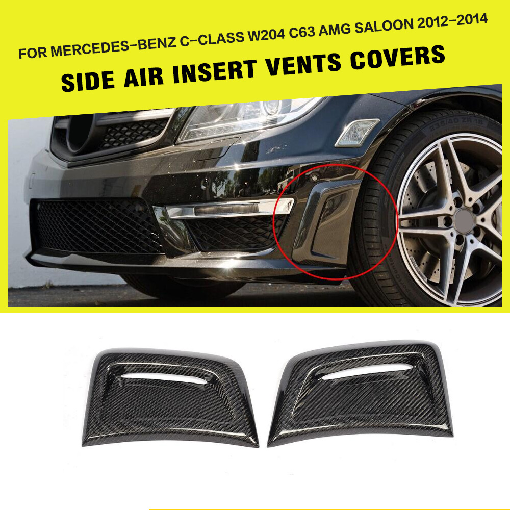 Car-Styling Carbon Fiber Auto Side Fender Grill For Benz C-class W204 C63 AMG Bumper Only 2012-2014 pp class front car mesh grill sport style fit for benz w203 c 2000 2006