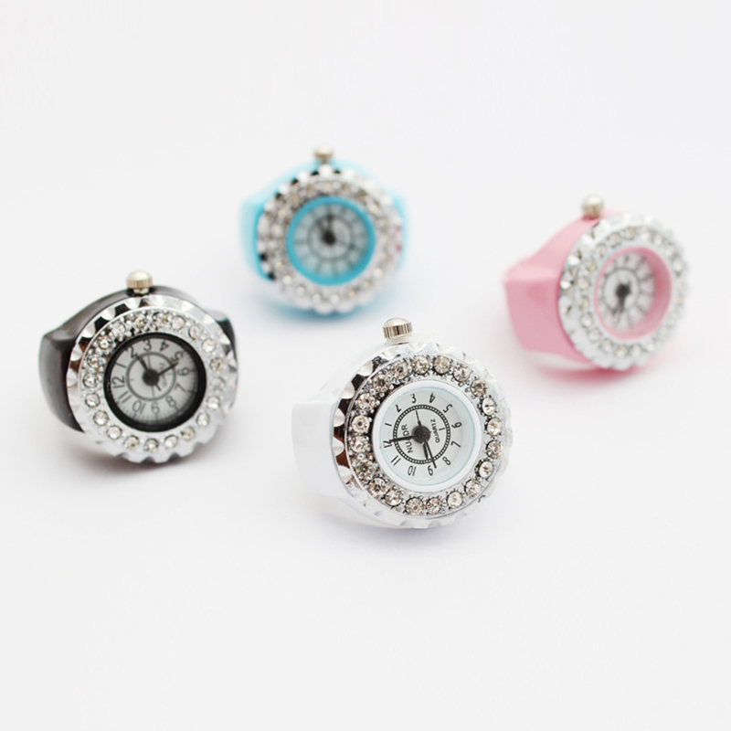 9 Colors Fashion Women Girls Crystal Ring Watch Jewelry Steel Stretchy Quartz Finger Watches Gifts Accessories LL@17