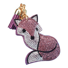 Corrente Chave de Cristal bonito Fox Strass Anel Chave Bugiganga Chave Do Carro Cadeia Color Mix Inlay Pérola Chaveiro Chave presente Legal mulheres 6C2301(China)