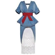 أزياء جديدة لمنصة عرض الأزياء لعام 2020 طقم بدلة سيدات أنيق بياقة على شكل v فستان من قماش الدنيم + تنورة من الدانتيل طقم بدلة من قطعتين