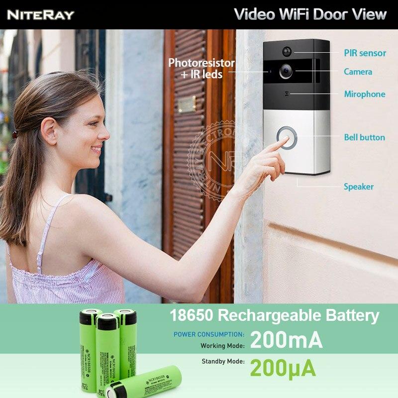 Door bell camera monitor APP smart door bell wifi door viewer apartment house hidden wireless camera door sensor