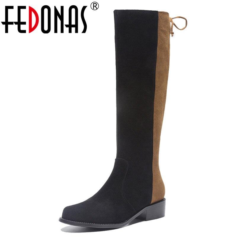 FEDONAS Top Quality Women Knee High Boots High Heels Motorcycle Boots Round Toe Long Warm Winter Shoes Woman Fashion High Boots магнитная доска для рисования играем вместе маша и медведь в пакете