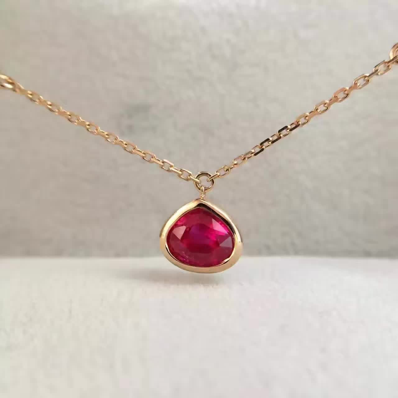0 966ct 0 030ct 18K Gold Natural Ruby and Pendant font b Necklace b font font