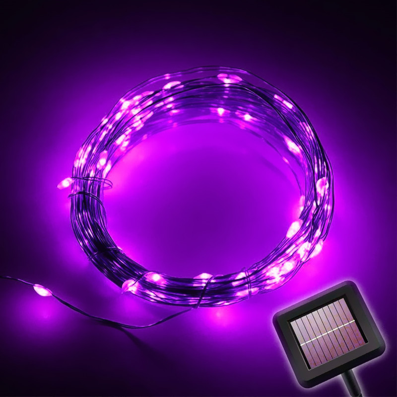 10M 100LED Solar Powered LED Kobber String Lights for Gardens, Homes, - Ferie belysning - Bilde 6