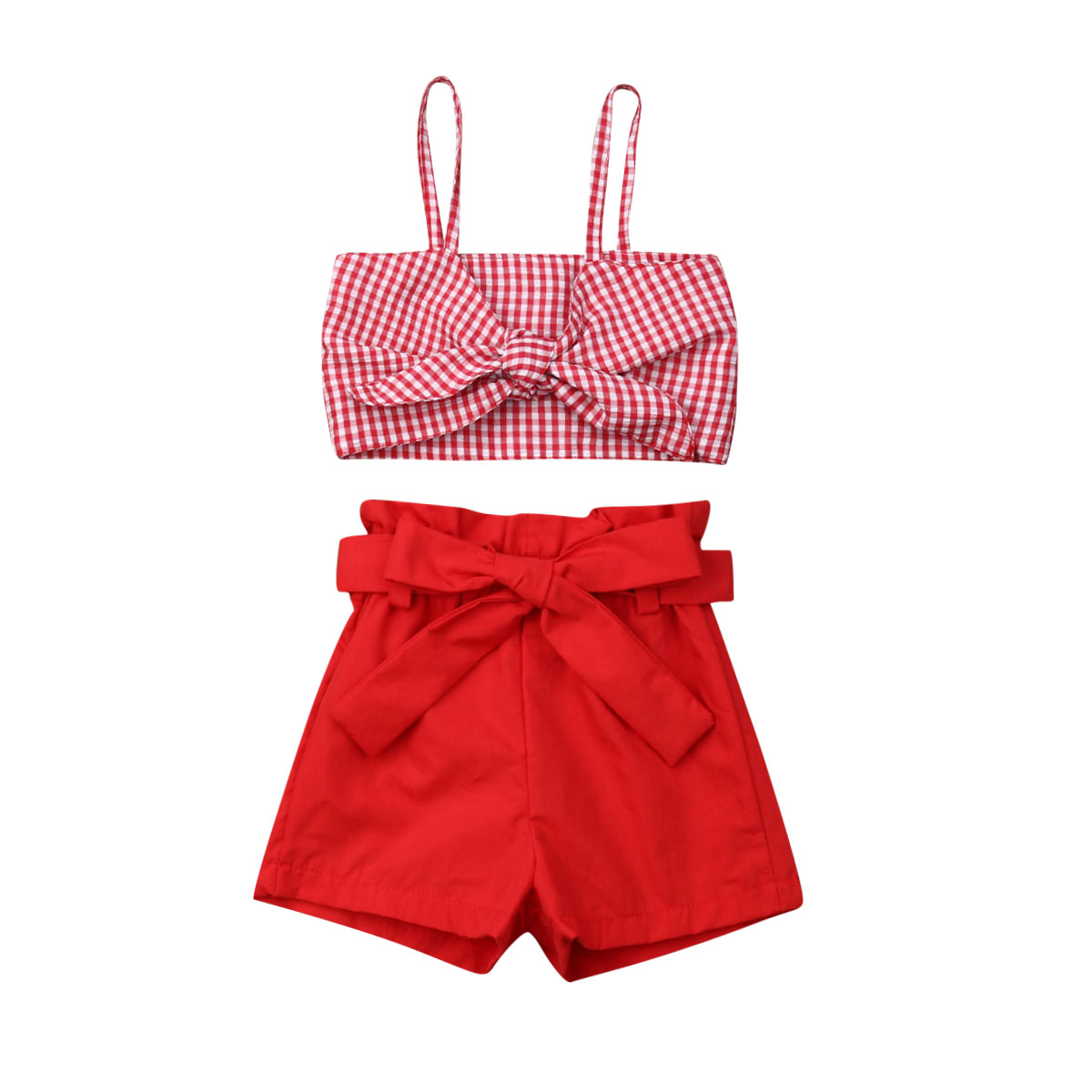 f1c6eaca336b 1-6Y Infant Kid Baby Girls Clothes Sets Sleeveless Bowknot Plaid Crop Tops  Pants Shorts Outfit