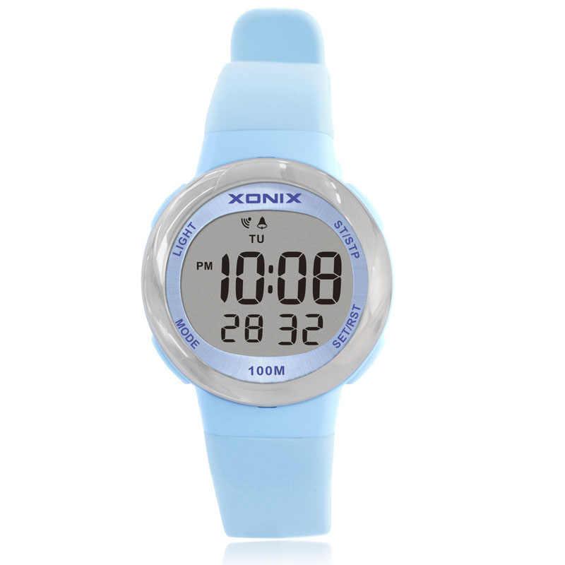 2018 مقاوم للماء 100 متر امرأة الأطفال ساعة بنين بنات LED الساعات الرياضية الرقمية سيليكون المطاط الاطفال إنذار تاريخ ساعة عادية FE